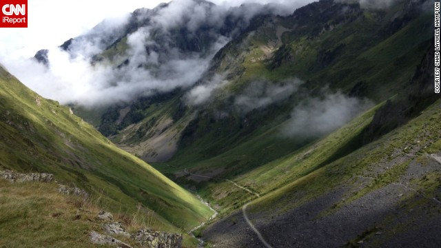 "Clouds descend on a mountain pass in the French Pyrenees near Cauterets, France. ""I had just taken a break in the middle of my hike,"" Chad Laywell Hampton said. ""I was four hours into the hike, and I looked back to see how far I had come."""
