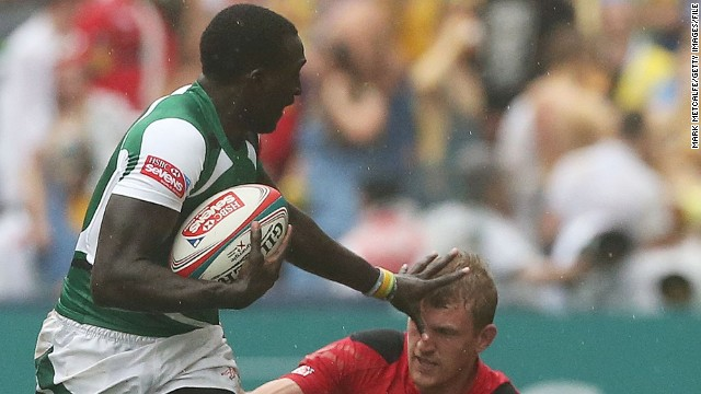 A third sibling, Michael Agevi, is also a member of the Kenya sevens team. Here he is in action against Wales at the Hong Kong Sevens in March, where Kenya won the third-tier Shield final as one of the teams that didn't qualify for the main tournament quarterfinals.<!-- --> </br>