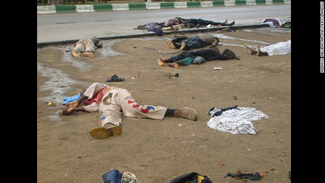 Bodies lie in the streets in Maiduguri after religious clashes in northern Nigeria, on July 31, 2009. Boko Haram exploded onto the national scene in 2009 when 700 people were killed in widespread clashes across the north between the group and the Nigerian military.