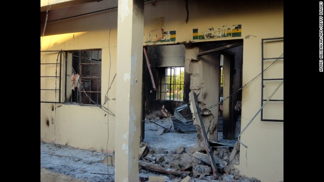 A photo taken on November 6, 2011, shows state police headquarters burned by a series of bomb and gun attacks that targeted police stations, mosques and churches in Damaturu on November 4, 2011. Attackers left scores injured -- probably more than 100 -- in a three-hour rampage in the Yobe state city of Damaturu. Sixty-three people died.