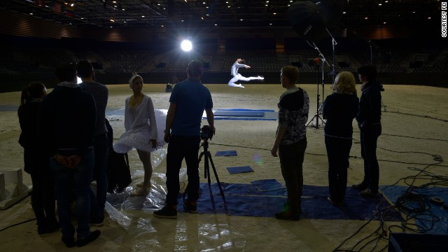 The dancers met the riders in the arena, before welcoming them to a performance of their own -- dancing Swan Lake at the Lyon Amphitheatre as part of a nationwide French tour.