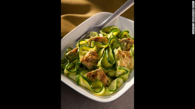 "Using thinly sliced zucchini in place of pasta cuts out carbs for a fantastic ""skinny"" meal."