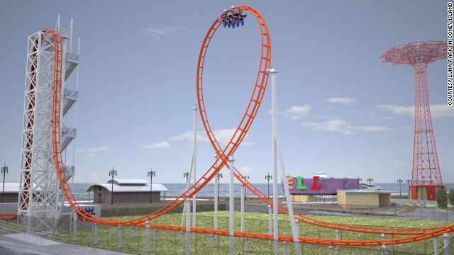 At Coney Island's Luna Park in Brooklyn, New York, a new $10 million steel Thunderbolt will sit on the site of the original wooden Thunderbolt that terrified thrill-seekers from the 1920s through the '80s. The coaster, expected to open in May, is seen here in a rendering.