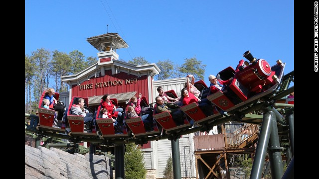 The FireChaser Express at Dollywood in Pigeon Forge, Tennessee, is a family ride that includes explosions and fireworks.