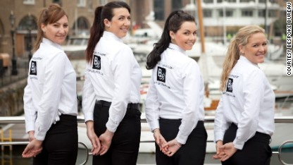 Young women training to be superyacht stewardesses, London.