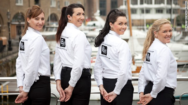 These young women are training to be superyacht stewardesses, where they hope to earn anything from $1,000 to $6,000 a week.