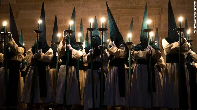 "APRIL 18 - ZAMORA, SPAIN: Penitents from the ""Las Siete Palabras"" -- Seven Words -- brotherhood take part in a procession in the early hours of April 16. Hundreds of processions take place throughout the country during the Easter Holy Week."
