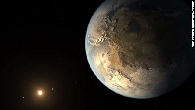 "A team of astronomers announced April 17, 2014, that they have discovered the first Earth-size planet orbiting a star in the so-called ""habitable zone"" -- the distance from a star where liquid water might pool on the surface. That doesn't mean this planet has life on it, says Thomas Barclay, a scientist at the Bay Area Environmental Research Institute at Ames and a co-author of a paper on the planet, called Kepler-186f. He says the planet can be thought of as an ""Earth-cousin rather than an Earth-twin. It has many properties that resemble Earth."" The planet was discovered by NASA's Kepler Space Telescope. It's located about 500 light-years from Earth in the constellation Cygnus. The picture above is an artist's concept of what it might look like."