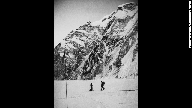 "British Army soldiers and mountaineers John ""Brummie"" Stokes and Michael ""Bronco"" Lane above the icefall at the entrance to the West Col (or western pass) of Mount Everest during their successful ascent of the mountain. The joint British-Nepalese army expedition reached the summit on May 16, 1976."