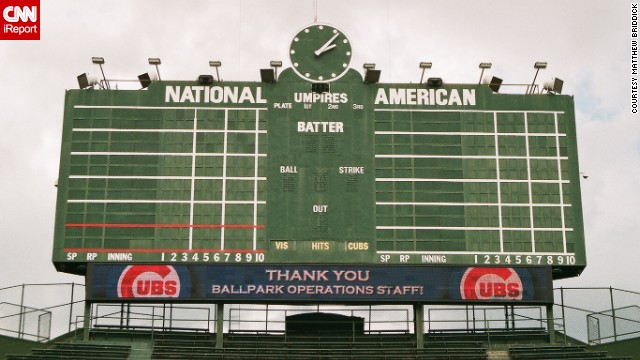 Wrigley Field is one of the last parks to maintain a hand-turned scoreboard. No batted ball has ever hit the 1937 scoreboard, though pro-golfer Sam Snead <a href='http://www.ballparks.com/baseball/national/wrigle.htm' target='_blank'>hit it with a golf ball</a> from home plate on Opening Day 1952. Briddick shot this photo while on a tour of the park.