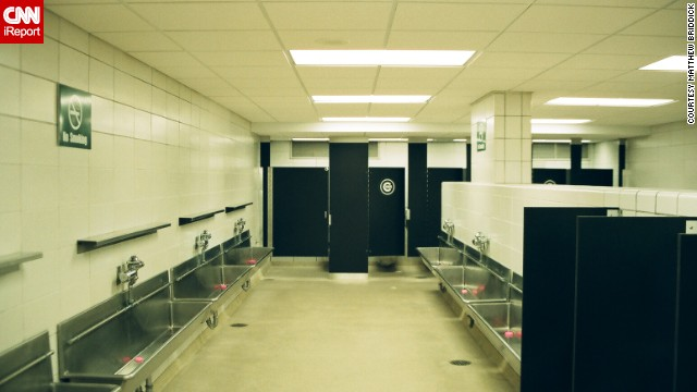 """<a href='http://ireport.cnn.com/docs/DOC-1122484'>Briddick</a> says everyone knows about the urinal troughs at Wrigley Field. """"They are an odd feature that most men's rooms don't have,"""" he said. """"I took the photo because it was the only time I've been in the men's room when there wasn't a huge line with a ton of dudes."""""""