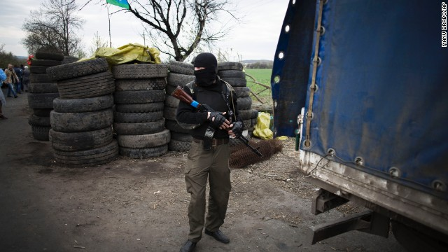 A pro-Russian militant is seen at the roadblock near Slavyansk on April 20.
