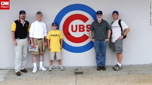 <a href='http://ireport.cnn.com/docs/DOC-1119043'>Robert Ondrovic</a>, far left, has been touring baseball parks for 25 years. Here, he visits Wrigley in 2006 with friends.