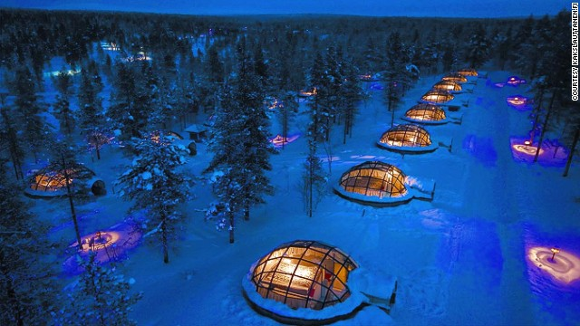 Located within the Arctic Circle, deep in the snowbound Saariselka area of northern Finland, the cabins are built from ice or glass; both are surprisingly warm, but somewhat lacking in privacy.