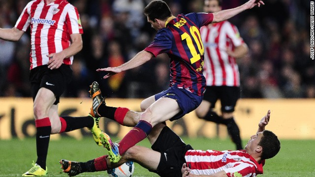 This foul by Athletic Bilbao's Oscar de Marcos gave Lionel Messi the chance to fire a free-kick winner for Barcelona.