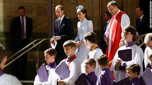 The duke and duchess walk past members of the St. Andrews Cathedral choir after an Easter celebration in Sydney on Sunday, April 20.