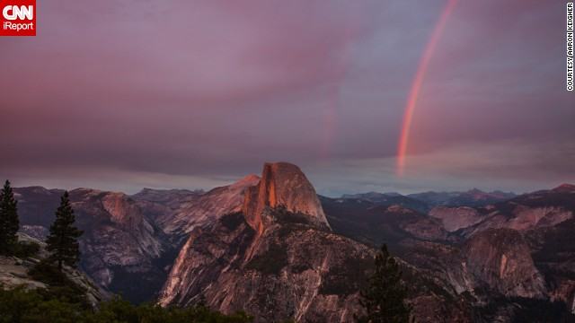 "A beautiful double rainbow lights up the clouds over Glacier Point overlook in California's Yosemite National Park. ""Yosemite, and Glacier Point specifically, is probably my favorite place in the world,"" Aaron Keigher said."
