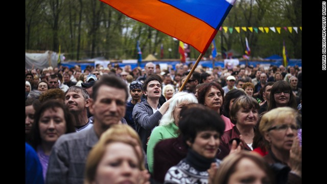 Demonstrators attend a pro-Russian rally outside the secret service building in Luhansk on April 21.