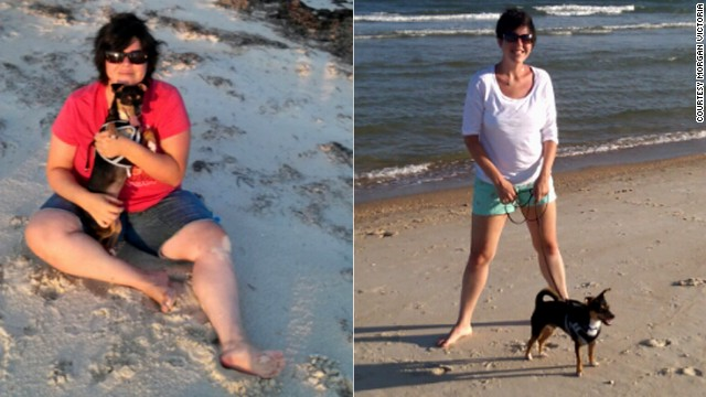 This photo shows Victoria on the beach before her weight loss and one year later. She now weighs 150 pounds and wears a size 6.