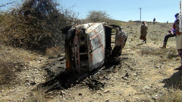 A destroyed car that was carrying militants in the Sawmaa area of al-Bayda province, Yemen on April 19, 2014.