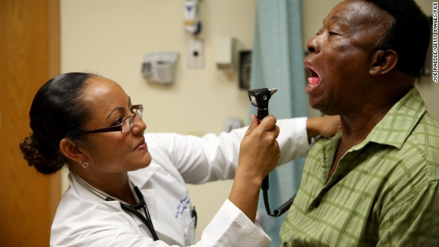 A patient who enrolled in Obamacare gets a checkup.