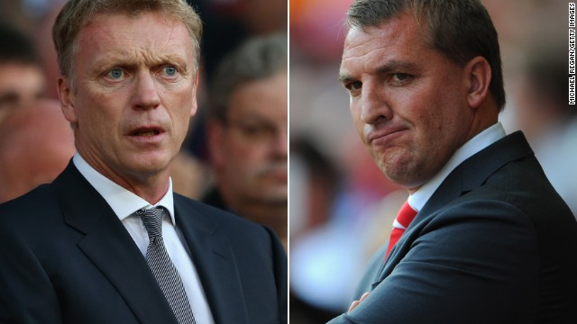 While United's fortunes have plummeted under Moyes, Liverpool's have risen under Brendan Rodgers (right). Ferguson once famously said he wanted to knock the Merseysiders off their perch, but one year after the Scot's departure Rodgers' team leads the Premier League by five points with three games to play.
