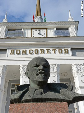 Statues of former Soviet leader Vladimir Lenin stand sentinel outside official buildings in Tiraspol.