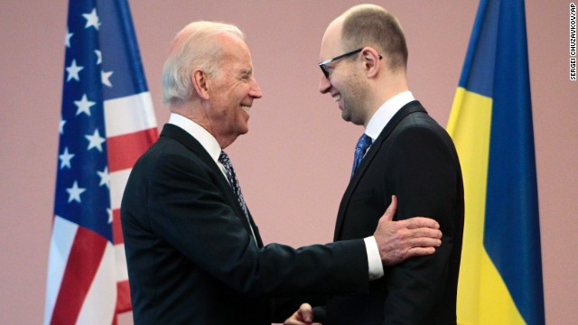 U.S. Vice President Joe Biden talks with Ukrainian Prime Minister Arseniy Yatsenyuk during a meeting in Kiev, Ukraine, on April 22.
