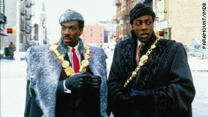 Eddie Murphy, left, in the movie, Coming to America.