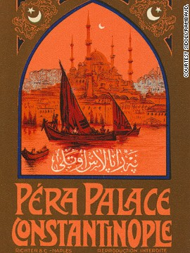 In order to give travelers the same level of comfort as on board, the Orient Express operator Compagnie Internationale des Wagons-Lits opened hotels in many cities along the train's route. The poster above is for the Pera Palace in Istanbul, which opened doors in 1895.