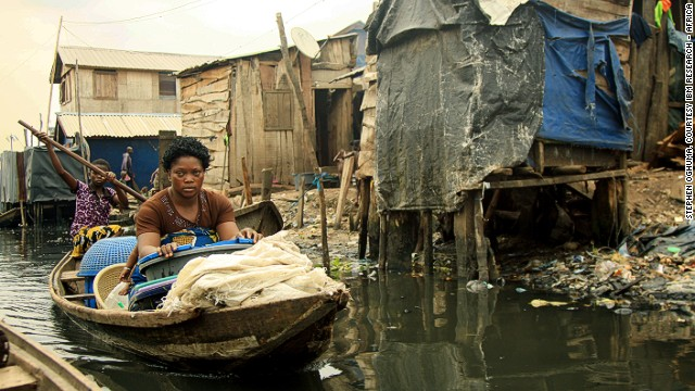 This image shows day-to-day life in Makoko, one of Nigeria's biggest and best known slums. Most of Makoko rests on stilts above the Lagos Lagoon. It has an estimated 85,840 residents many of whom are fishermen.