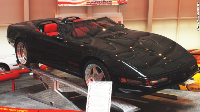 "HOT! This 1993 ZR-1 Spyder, on loan from General Motors, was built with ""unique hood and front quarter panel vents"" to help cool the engine. The car's windshield and side glass were designed to sit lower than other Corvettes to give it an even sleeker profile. Although the museum lists this modified car's year as 1993, mechanically, the Spyder is a stock 1990,<a href='http://corvettemuseum.blogspot.com/2014/04/zr-1-spyder-recovered-from-sinkhole.html' target='_blank'> according to the museum</a>."
