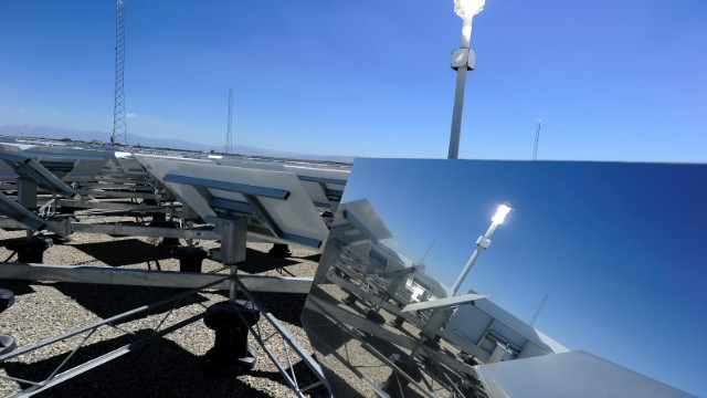 <strong>Concentrated solar plants</strong> -- where rows of mirrors reflect the suns rays into a central generator tower -- already work a lot like a field of flowers. As the sun tracks across the sky, the shining mirrors rotate to follow it. But researchers at MIT have found that plants have more to offer -- and the secret is in the center of a <strong>sunflower</strong>. They tried to find the most efficient layout for a field full of mirrors and found their strange spiral-shaped answer<a href='http://www.wired.co.uk/news/archive/2012-01/11/solar-biomimicry' target='_blank'> matched the arrangement of sunflower seeds in the head of the plant</a>.