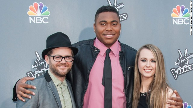 Contestants Josh Kaufman, T.J. Wilkins and Bria Kelly arrives at NBC's 'The Voice' Season 6 Top 12 event in April 2014 in Universal City, California.