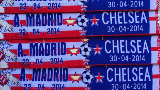 Souvenir scarves of the the respective sides are marked with the dates of the two-legged semifinal between Atletico Madrid and Chelsea.