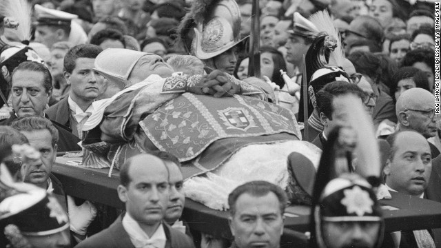 "But he died in June 1963, before the council's aims could be seen through to their conclusion. On his death, he was hailed as the ""Pope of Unity and Peace."" Thousands filled St Peter's Square to mourn ""Il Papa Buono"" (""the good Pope"")."