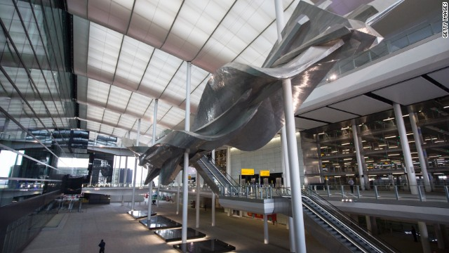 """London Heathrow Airport has unveiled its new Terminal 2, otherwise known as the Queen's Terminal. Artist Richard Wilson says his """"Slipstream"""" artwork inside the terminal's wide atrium shows Britain is the """"world's cultural capital."""""""