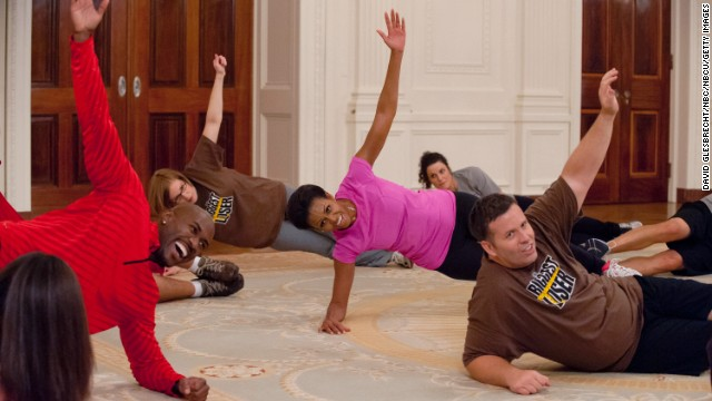 "Obama works out on ""The Biggest Loser"" on February 18, 2012."