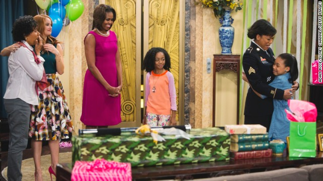 "Obama, center left, guest stars in ""Jessie."" She appears in this January episode that talks about military families."