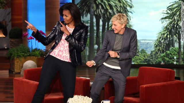"Talk-show host Ellen DeGeneres dances with Obama during a taping of ""The Ellen DeGeneres Show"" on February 1, 2012."