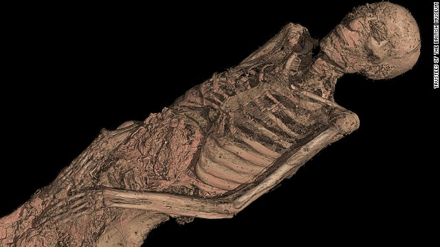 The museum uses a dual-energy CT scanner, which can create images of thick areas, like