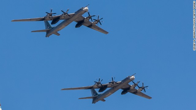 Russian Tu-95 Bear-H bombers like the ones that flew close to Alaska and California last week, according to military officials.