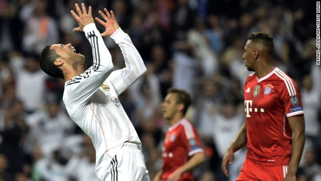 Cristiano Ronaldo can't hide his frustration after he misses an easy chance to put Real Madrid 2-0 up.