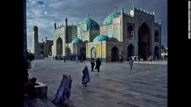 The Blue Mosque in Mazar-i-Sharif, 1992.