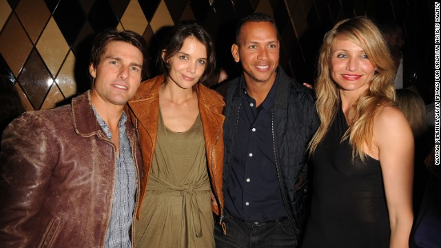 In 2010 everyone wanted to know whether Diaz and baseball star Alex Rodriguez were the item they appeared to be, but the actress wasn't talking. Diaz, seen here with Tom Cruise, Katie Holmes and Rodriguez at a Super Bowl party in Miami that year, once dodged questions about A-Rod by establishing her love for porn.
