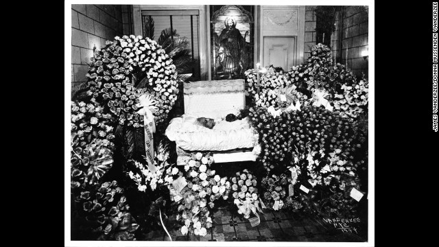 "VanDerZee's funeral images from the 1920s to the 1960s were later assembled into a book, ""The Harlem Book of the Dead."""