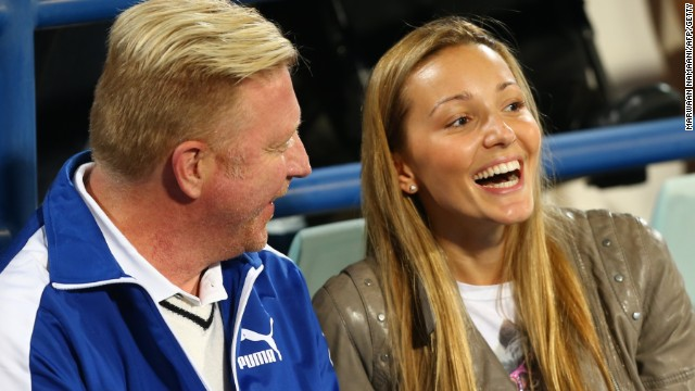 Djokovic's new coach Boris Becker shares a moment with Ristic during one of the Serbian's matches.