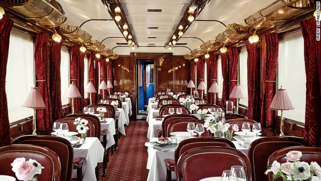 Inside its walls, the dining car is impeccably set for service, as if expecting to welcome well-heeled guests in just a few moments.