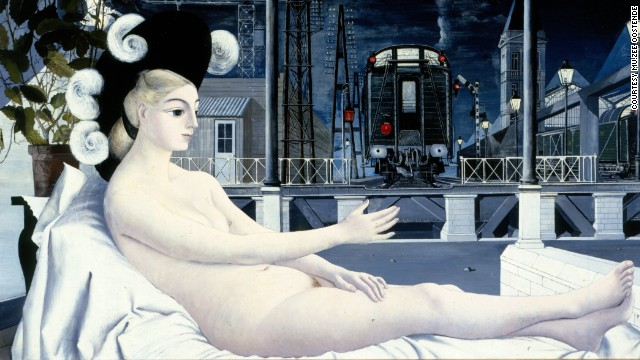 "The journey was often glamorized, such as in this 1951 painting ""L'Âge de fer"" by Belgian surrealist painter Paul Delvaux."