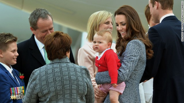 Lynne Cosgrove, center, wife of the governor-general of the Commonwealth of Australia, sees the royal family off.